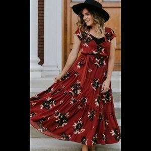 Free People All I Got Printed Maxi Dress Red Combo